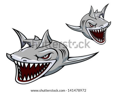 Danger gray shark with sharp teeth. Vector version also available in gallery - stock photo