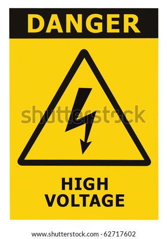Danger High Voltage Sign, Isolated - stock photo