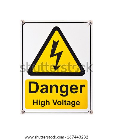 Danger High Voltage Sign, Isolated on White background - stock photo