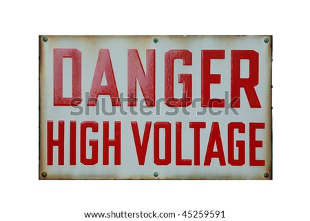 DANGER High Voltage sign isolated on white with room for your text - stock photo