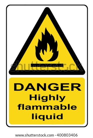 Danger highly flammable liquid yellow warning sign - stock photo