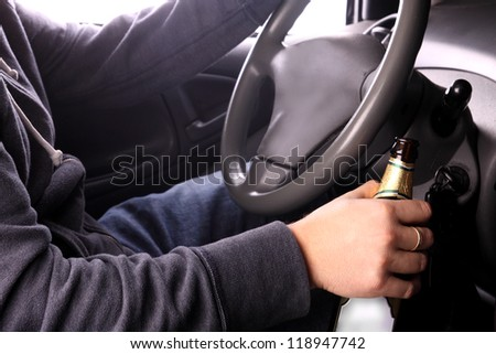 Danger on the road caused by drunken drivers - stock photo