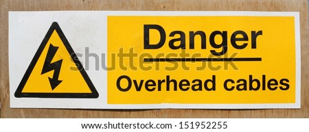 Danger Overhead wires warning sign