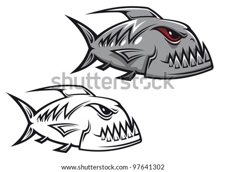 Danger piranha fish in cartoon style isolated on white background. Vector version also available in gallery - stock photo