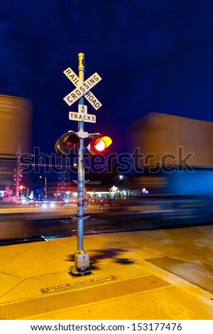 Danger rail sign at night in Flagstaff - stock photo