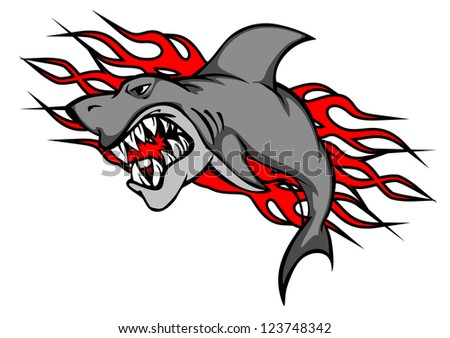 Danger shark with tribal flames for tattoo or mascot design. Vector version also available in gallery - stock photo