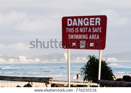 Danger sign at Currumbin.