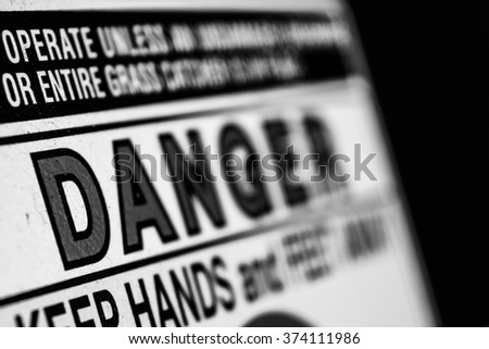 "Danger sign, Focus at ""D"""