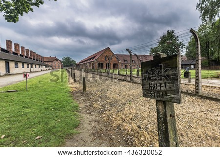 Danger Sign in Auschwitz I Concentration camp, Poland - stock photo