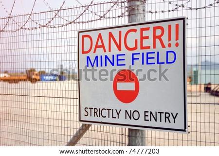 Danger Sign, Mine Field - stock photo