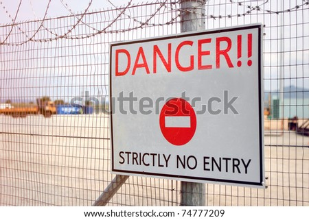 Danger sign, no entry - stock photo