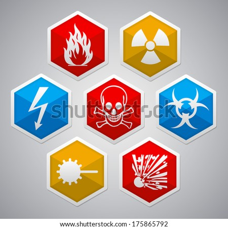 Danger sign - various color hexagon icon set with shadow on light background - stock photo