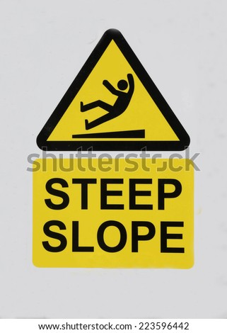 Danger sign warning of a steep slope ahead. - stock photo