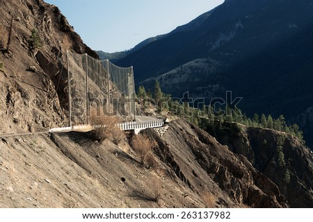 Danger spot at Lytton-Lillooet Highway above Fraser River (near Lytton) British Columbia, Canada - stock photo