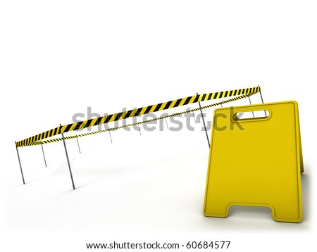 Danger tape and warning sign - stock photo