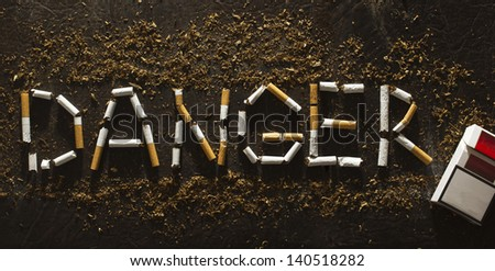 Danger.Warning sign.Tobacco concept.