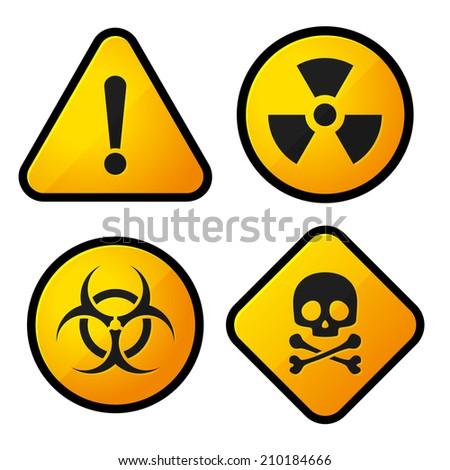 Danger Yellow Sign Icons Set.  Illustration - stock photo