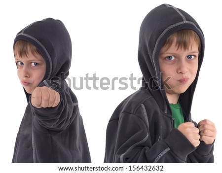 dangerous boy with hood - stock photo