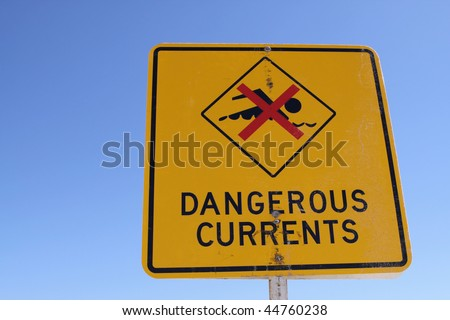 Dangerous Currents - Sign at Beach in Australia - stock photo