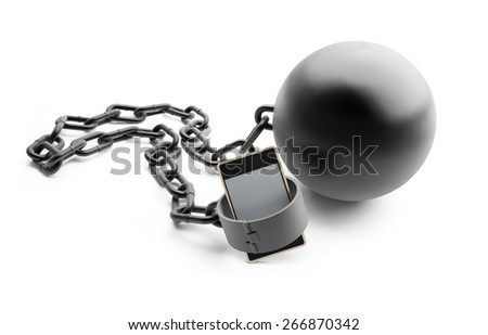 dangerous dependence telephone on white background - stock photo