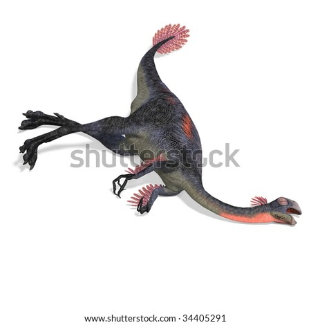 dangerous dinosaur gigantoraptor. 3D render with clipping path and shadow over white