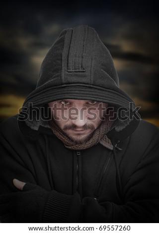 Dangerous guy, on background apocalyptic sunrise - stock photo