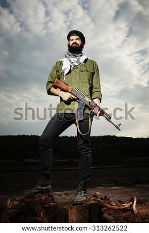 Dangerous man with Kalashnikov