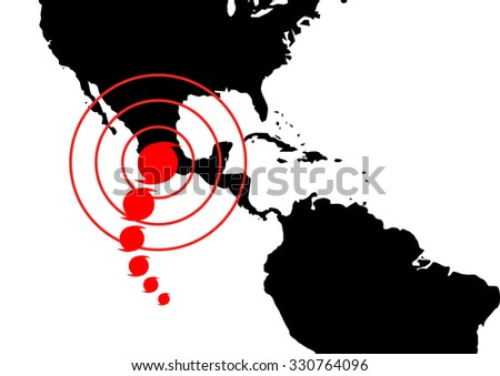 Dangerous occurrence in Mexico. World map illustration with red accident sign - stock photo