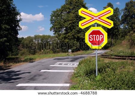 Dangerous Railroad Crossing - stock photo