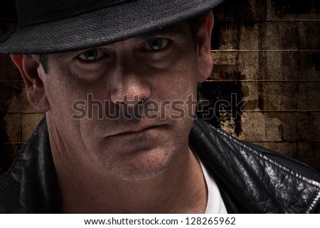 Dangerous scary looking man closeup - stock photo