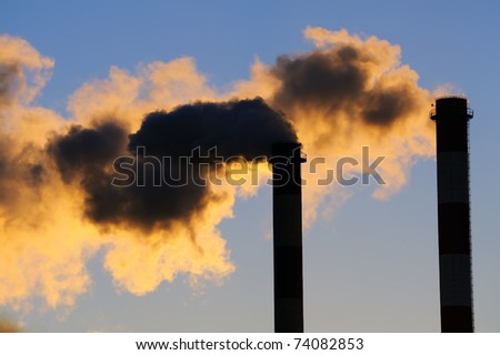 Dangerous toxic CO2 clouds, pollution concpet - stock photo