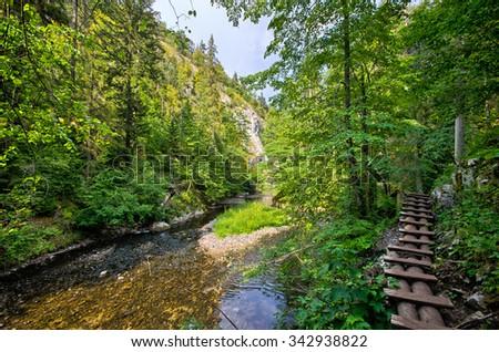 Dangerous trail along the Hornad river, Slovak Paradise - stock photo