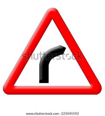Dangerous turn traffic sign isolated over white background - stock photo