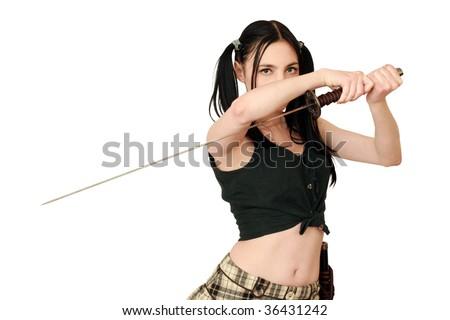 dangerous woman with sword - stock photo