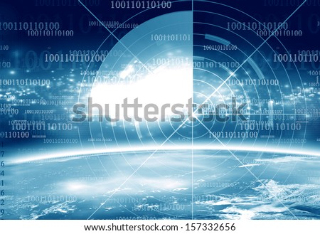 dangerous world on a dark blue background - stock photo