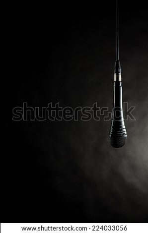 Dangling microphone - stock photo