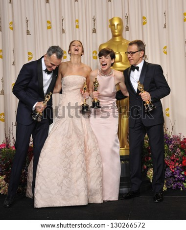 Daniel Day Lewis, Jennifer Lawrence, Anne Hathaway & Christoph Waltz at the 85th Academy Awards at the Dolby Theatre, Los Angeles. February 24, 2013  Los Angeles, CA Picture: Paul Smith - stock photo