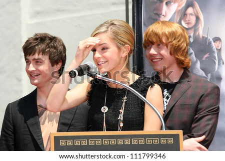 """Daniel Radcliffe with Emma Watson and Rupert Grint at the Hand, Foot and Wand Print Ceremony Honoring The Cast of """"Harry Potter"""". Grauman's Chinese Theater, Hollywood, CA. 07-09-07 - stock photo"""