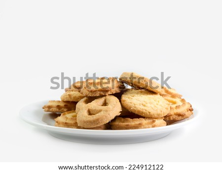 Danish Butter Cookies isolated on white background - stock photo