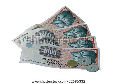 Danish Currency, front - stock photo
