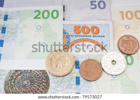 Danish kroner, coins and bank notes - stock photo