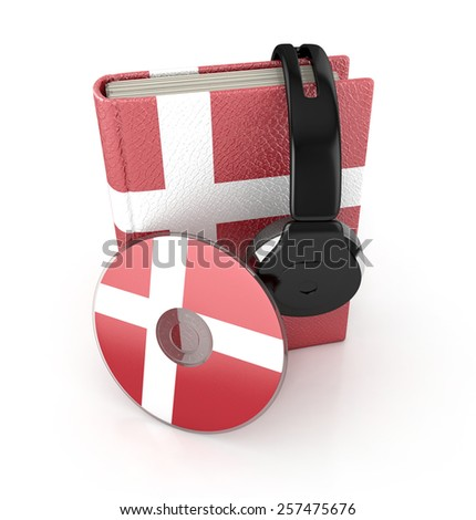 Danish language learning concept with cd, book and headphones. 3d render. Audio Book - stock photo