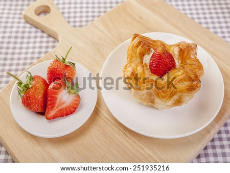 Danish strawberries pie  - stock photo