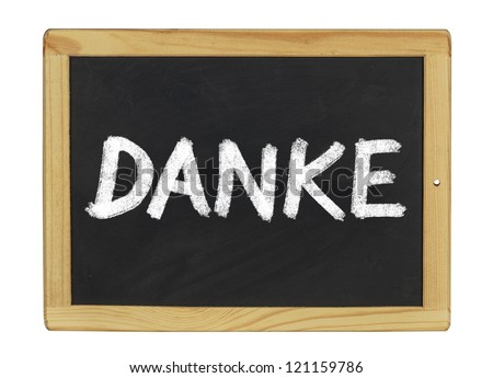 Danke written on a blackboard
