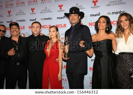Danny Trejo, Daryl Sabara, Alexa Vega, Robert Rodriguez, Rosario Dawson, Jessica Alba at the 2013 NCLR ALMA Awards Press Room, Pasadena Civic Auditorium, Pasadena, CA 09-27-13
