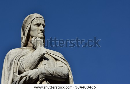 Dante Alighieri monument at the center of Piazza dei Signori, in Verona (19th century), with copy space - stock photo
