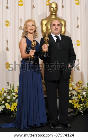Dante Ferretti & Francesca Lo Schiavo at the 80th Annual Academy Awards at the Kodak Theatre, Hollywood. February 24, 2008 Los Angeles, CA Picture: Paul Smith / Featureflash