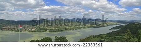 Danube curve in Hungary / panorama - stock photo