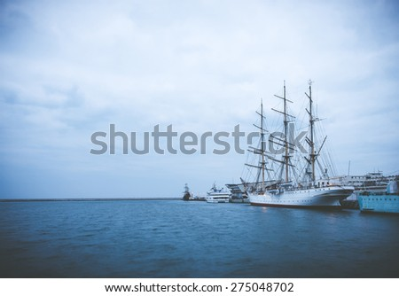 Dar Pomorza famous polish ship docked in Gdynia - stock photo
