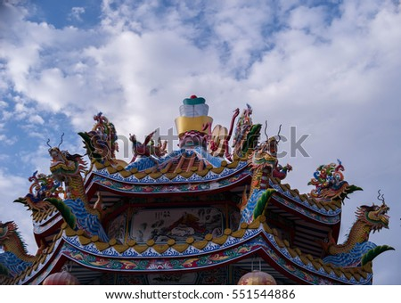 Dargon statue on Shrine roof ,dragon statue on china temple roof as asian art
